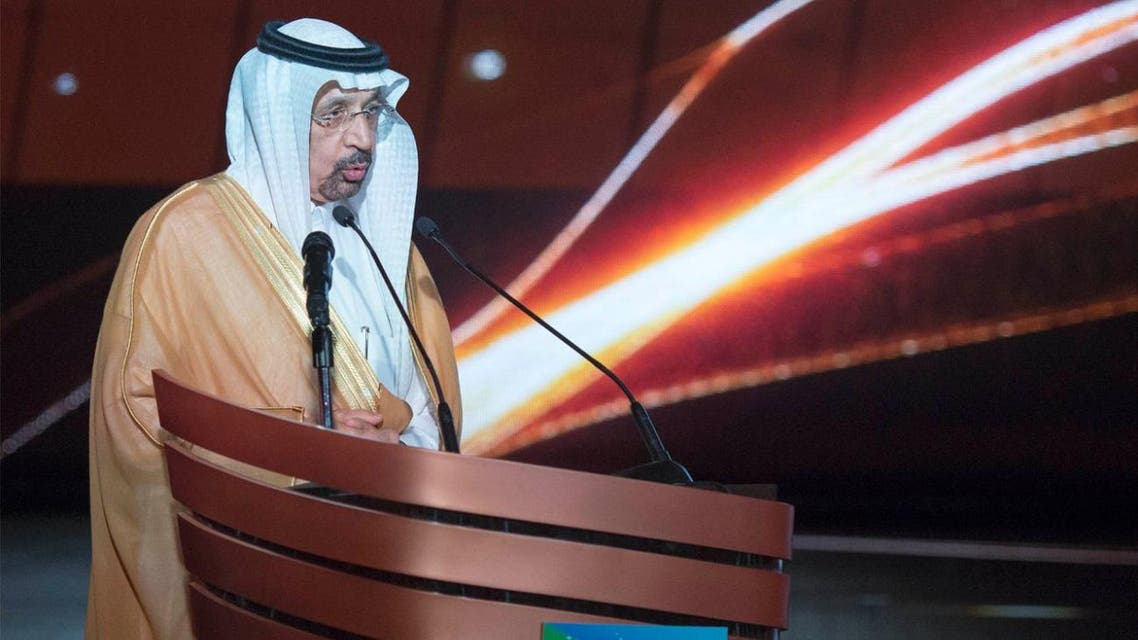 Minister of Energy, Industry and Mineral Resources of Saudi Arabia Khalid A. Al-Falih speaks during the inauguration of the projects. (SPA)