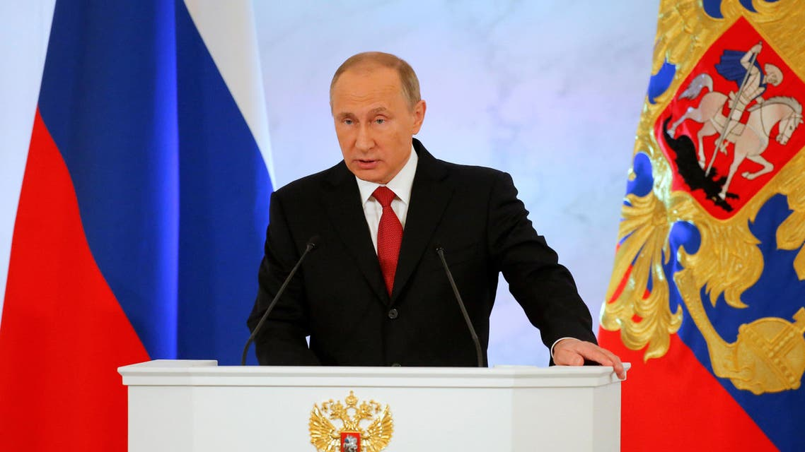 Russian President Vladimir Putin delivers a speech during his annual state of the nation address at the Kremlin in Moscow, Russia, on December 1, 2016. (Reuters)