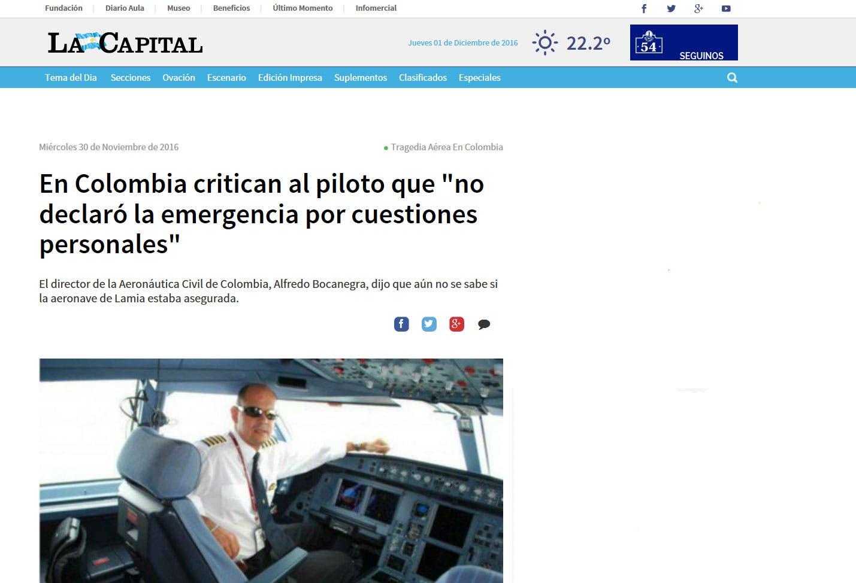 عناوين رئيسة بأمبركا اللاتينية، هنا واحد يقول: ينتقدون الطيار لأنه لم يعلن عن حالة طواريء لأسباب شخصية