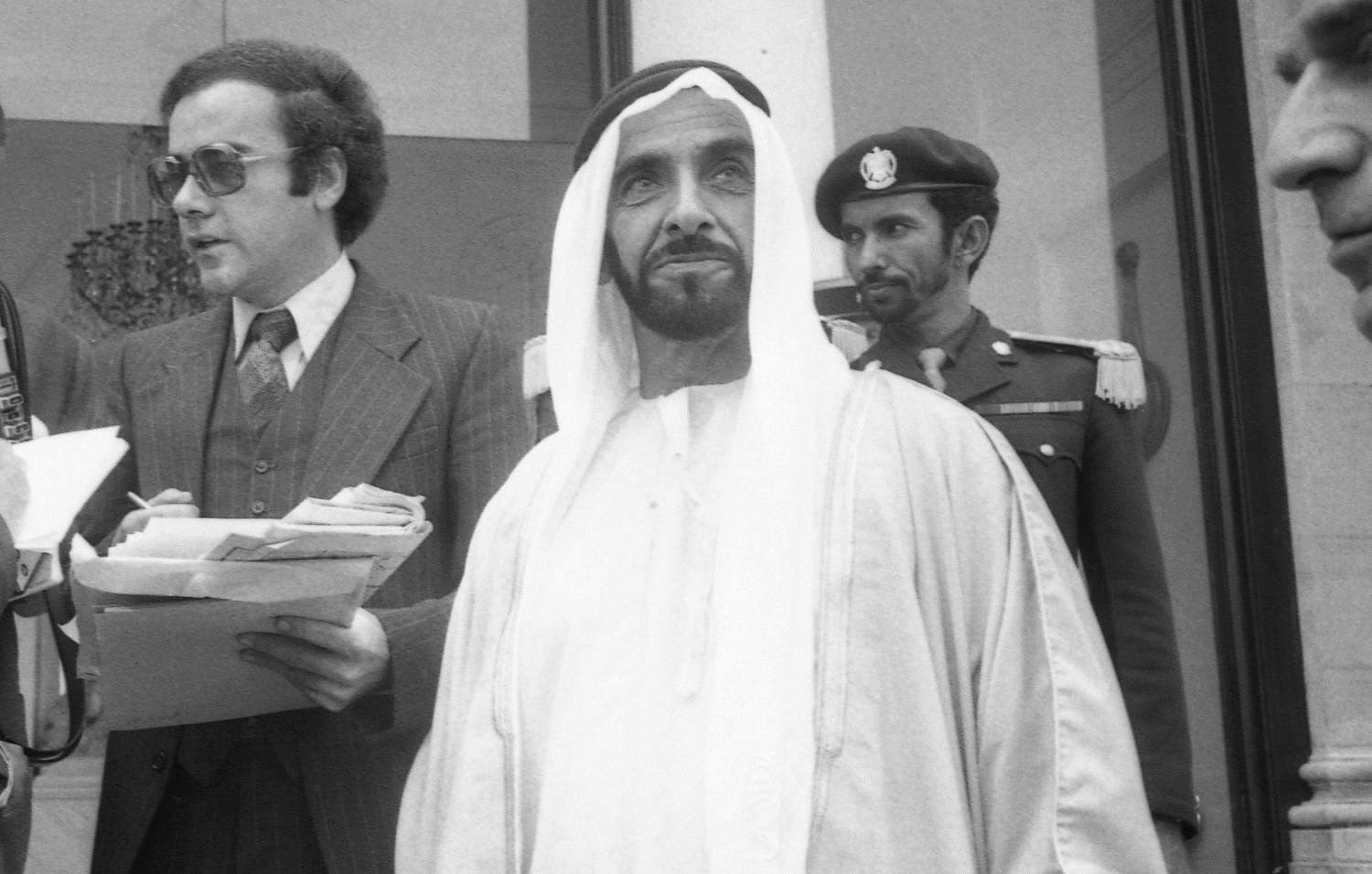 Late Sheikh Zayed bin Sultan Al Nahyan at the Elysee Palace on July 4, 1975. (AP)