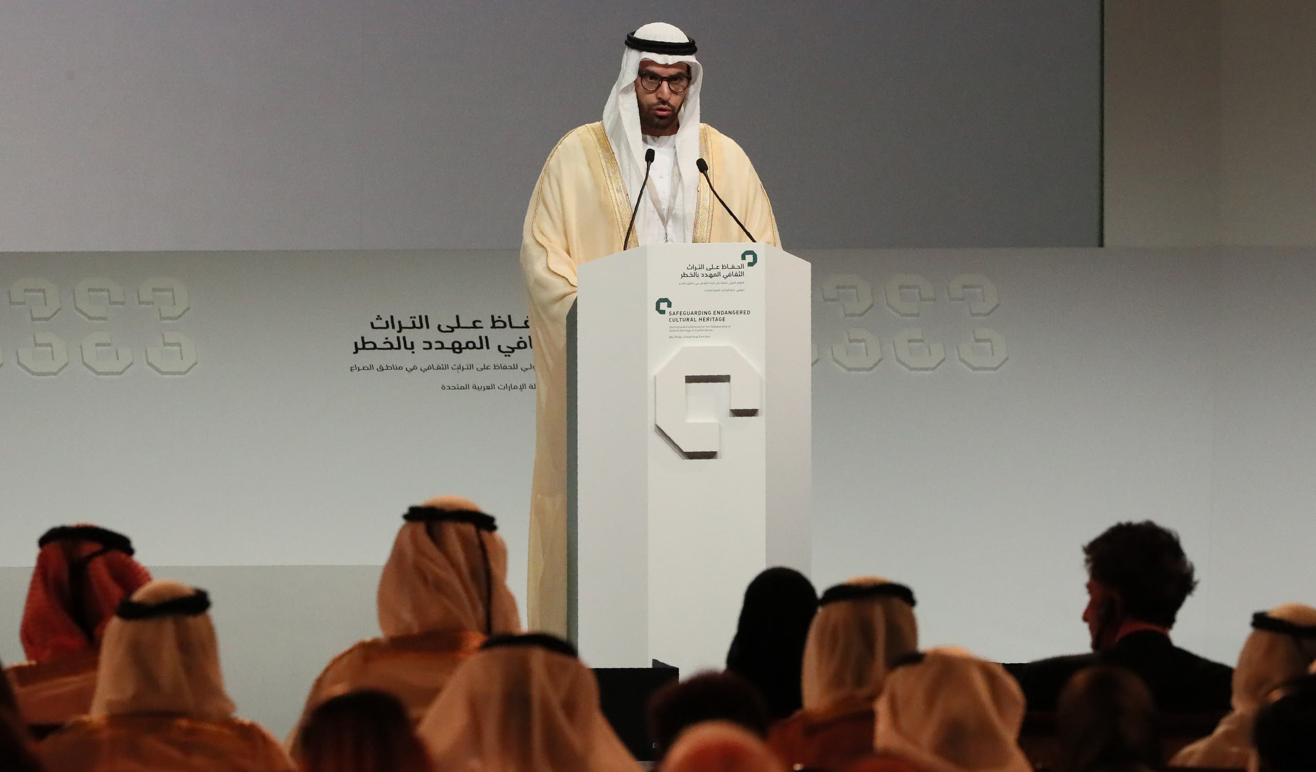 UAE's Chairman of Abu Dhabi Tourism and Culture Authority, Mohamad Khalifa al-Mubarak, speaks during the opening ceremony of a conference gathering officials and experts from around the world gather to discuss forming a global alliance to protect endangered heritage sites on December 2, 2016 in Abu Dhabi.  afp