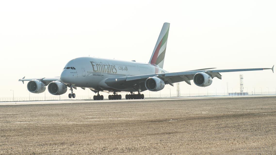 The Emirates A380 lands at Hamad International Airport, Doha. (Supplied)