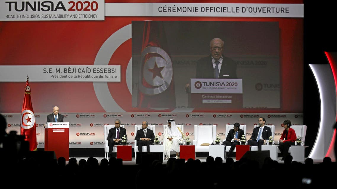 Tunisia's President Beji Caid Essebsi speaks during the opening of international investment conference Tunisia 2020 in Tunis, Tunisia November 29, 2016 السبسي مؤتمر الاستثمار في تونس تونس 2020