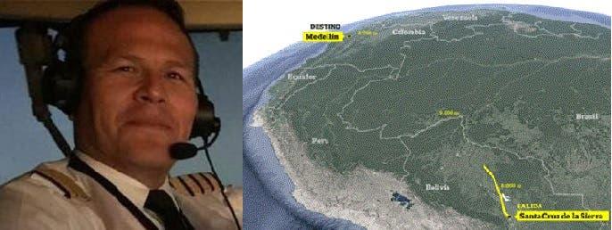 الطيار كيروغا، وضع بخزانات طائرته وقودا أقل للرحلة من سنتا كروز دا لا سييرا الى ميديلين الكولومبية