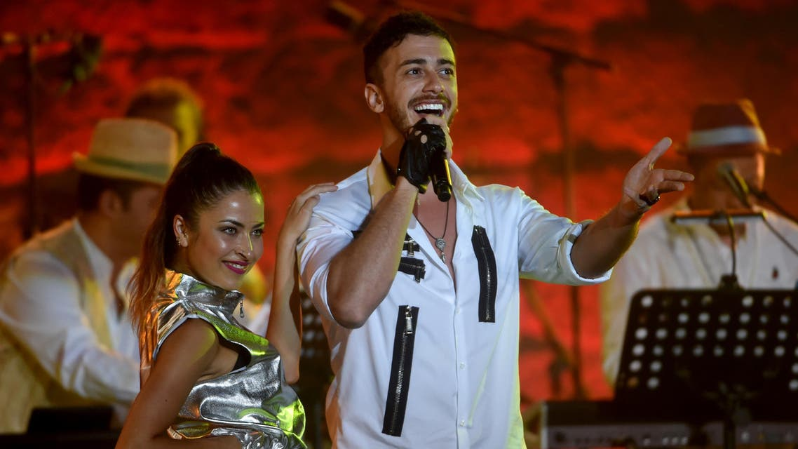 Morocco singer Saad Lamjarred performs during the 52 sesion of the International Carthage Festival on July 30, 2016 at the romain theatre of carthage near Tunis. AFP