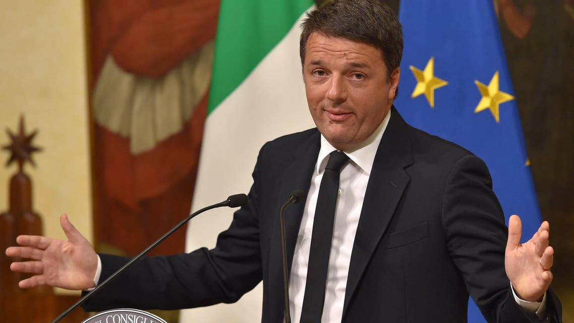 Italy's Prime Minister Matteo Renzi announces his resignation during a press conference at the Palazzo Chigi following the results of the vote for a referendum on constitutional reforms, on December 5, 2016 in Rome. AFP