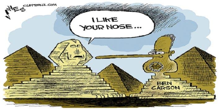 وسخر منه رسامو الكاريكاتير، فجعلو أبو الهول الصامت عبر التاريخ ينطق بعبارة أنا معجب بأنفك (الطويل)