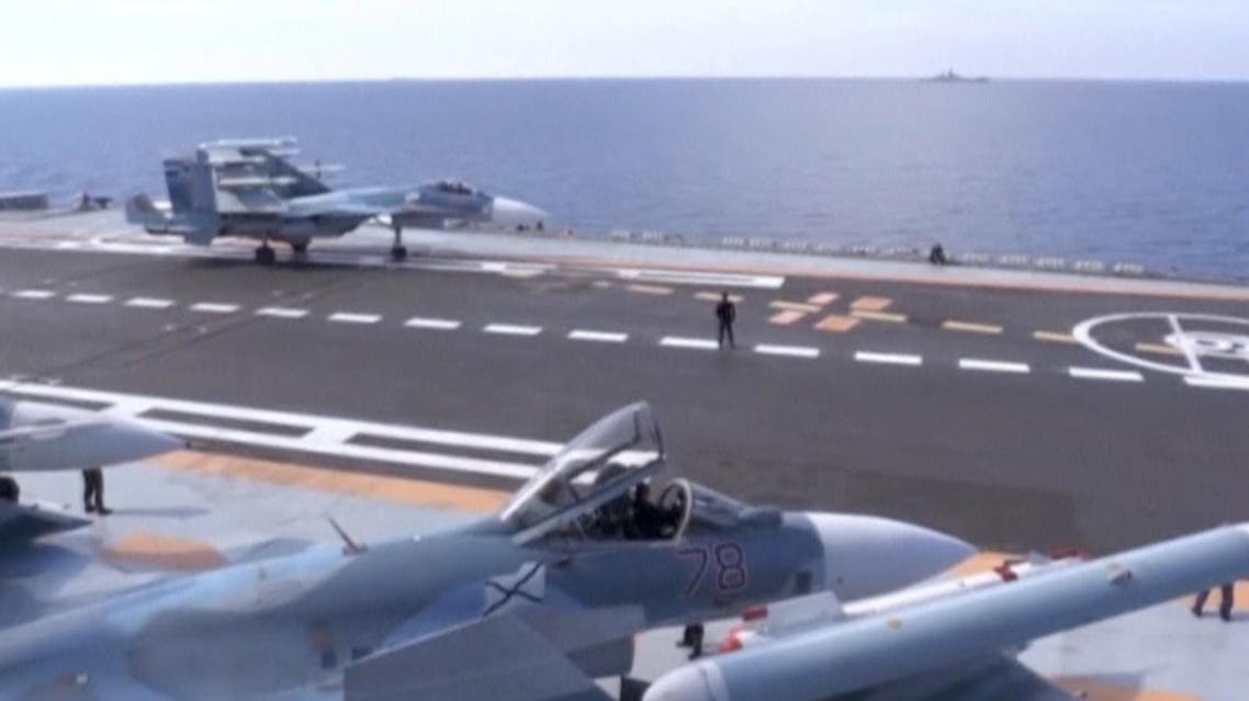 A still image taken from a video footage and released by Russia's Defence Ministry on November 15, 2016, shows a jet taking off from Russian Admiral Kuznetsov aircraft carrier near the coast of Syria Russia