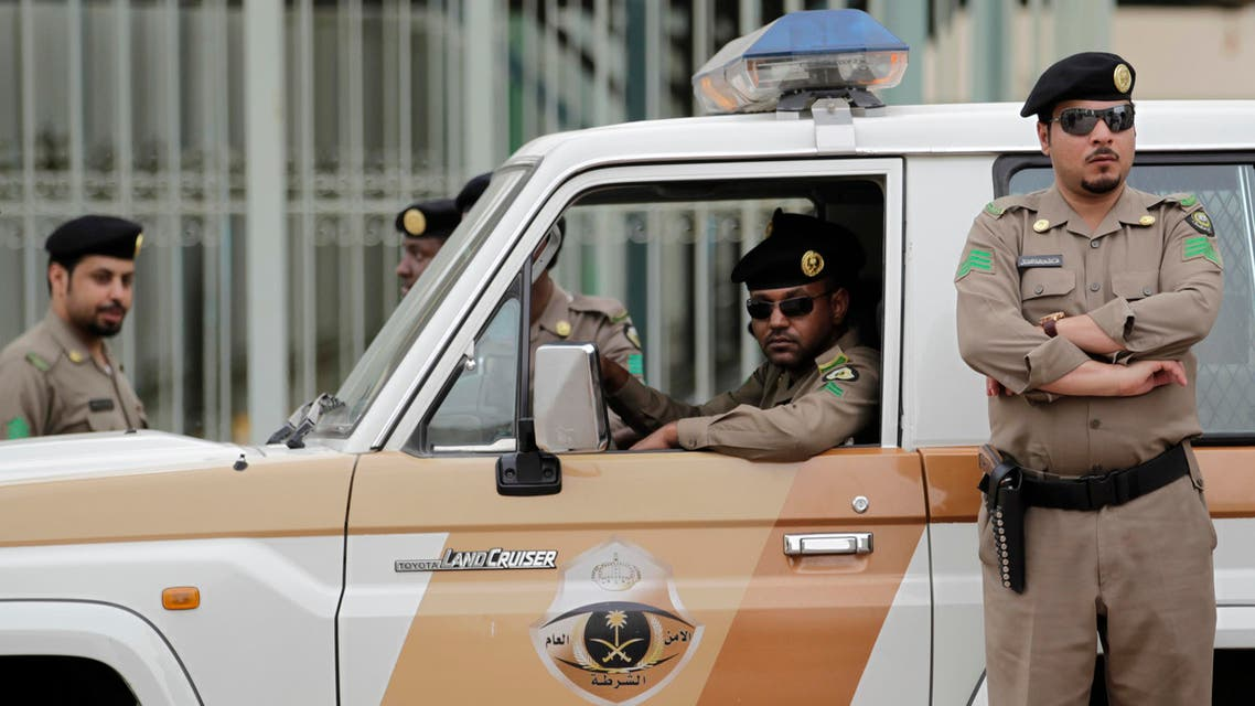 Saudi policemen form a check point near the site where a demonstration was expected to take place in Riyadh, Saudi Arabia, Friday, March 11, 2011. (AP)
