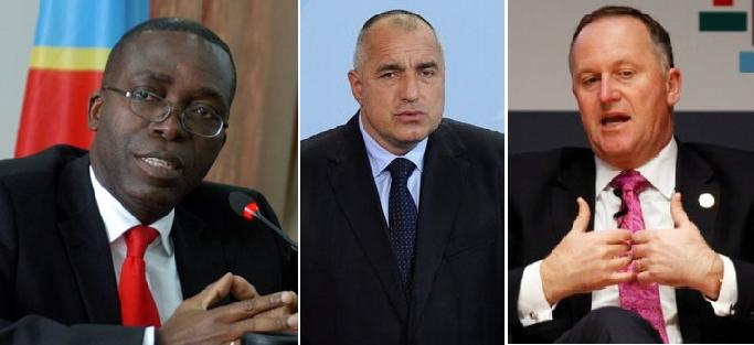 من اليمين، رئيس وزراء نيوزيلندا جون كي، ونظيره البلغاري بويكو بوريسوف والكونغولي أوغوستين ماتاتا