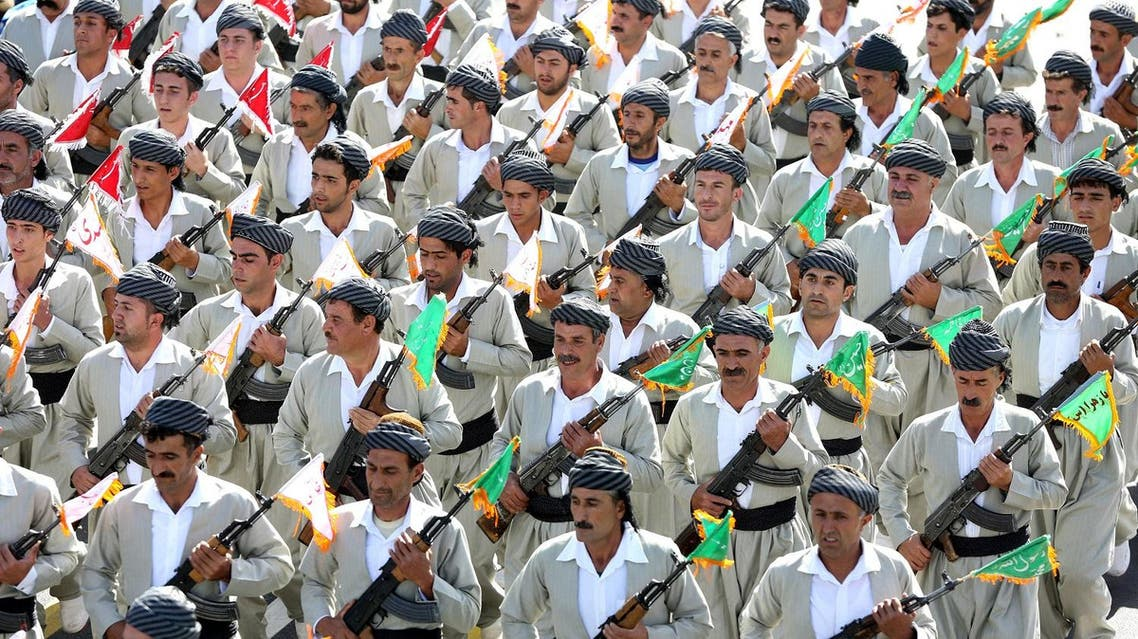 A file photo of a group of the Iranian Kurds, members of the Basij paramilitary force, march during an annual military parade (Photo: AP/Ebrahim Noroozi)