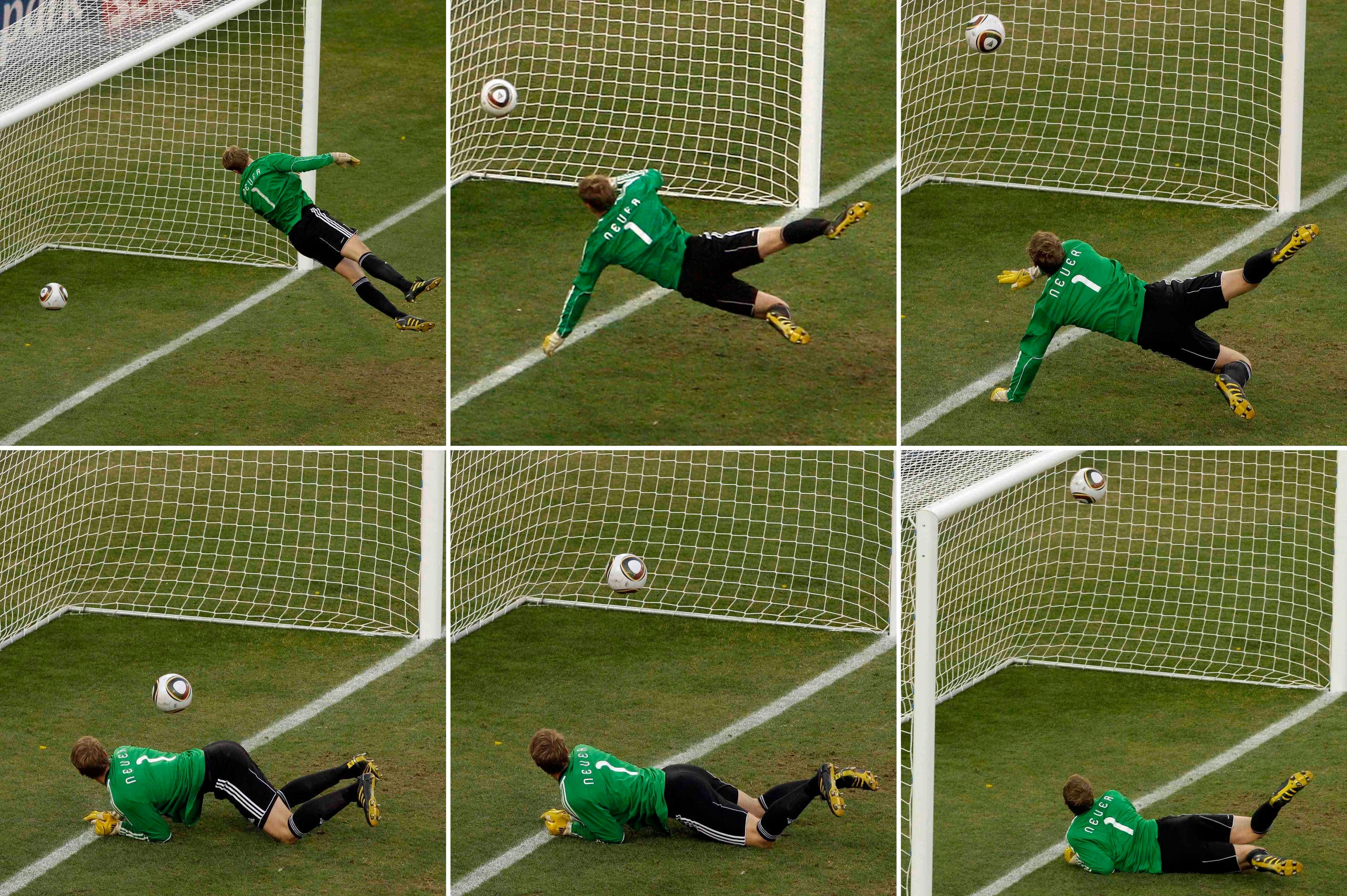 This Sunday, June 27, 2010 file combination of six photos shows Germany goalkeeper Manuel Neuer looking at the ball that hit the bar, bounce over the line during the World Cup round of 16 soccer match between Germany and England at Free State Stadium in Bloemfontein, South Africa. The goal was disallowed by the game's referee. After blown calls at vital moments of vital games, before a worldwide audience at the World Cup, the guardians of international soccer are being pressed harder than ever to explain resistance to video replay and their embrace of human error. (AP)