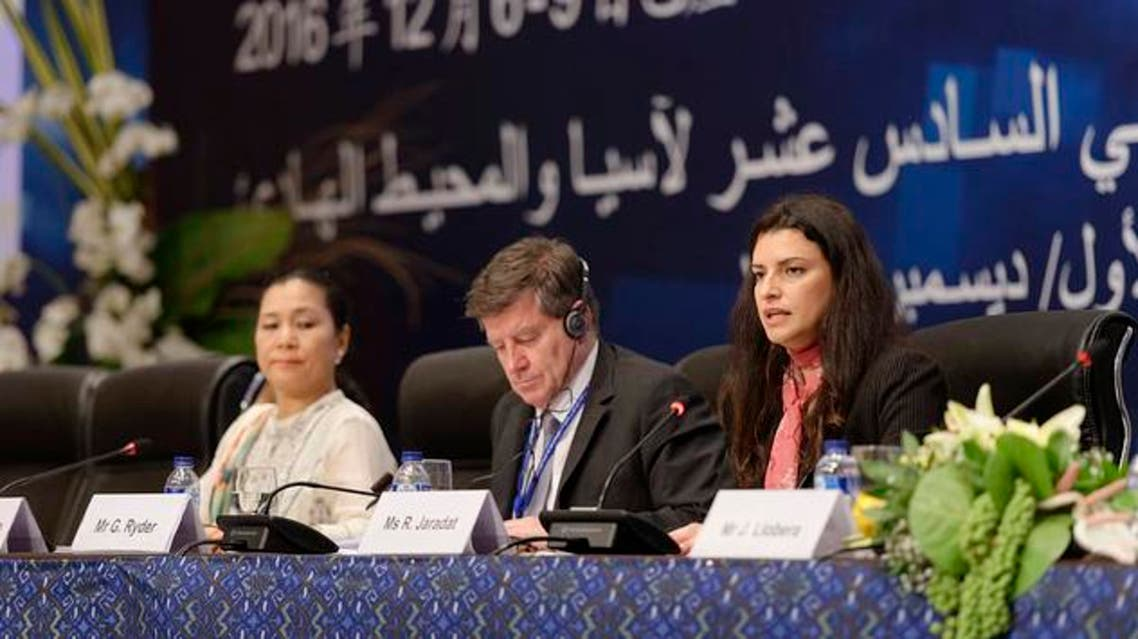 Ruba Jaradat, ILO Regional Director for Arab States (right), speaks during the opening session of the 16th Asia and the Pacific Regional Meeting (APRM) of the International Labour Organization (ILO), on Tuesday in Bali, Indonesia. ( Courtesy: ILO)