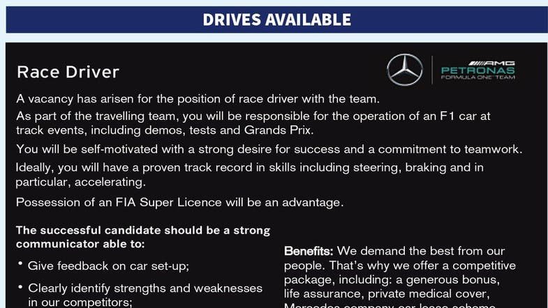 Mercedes runs job ad for F1 driver with 'proven track record