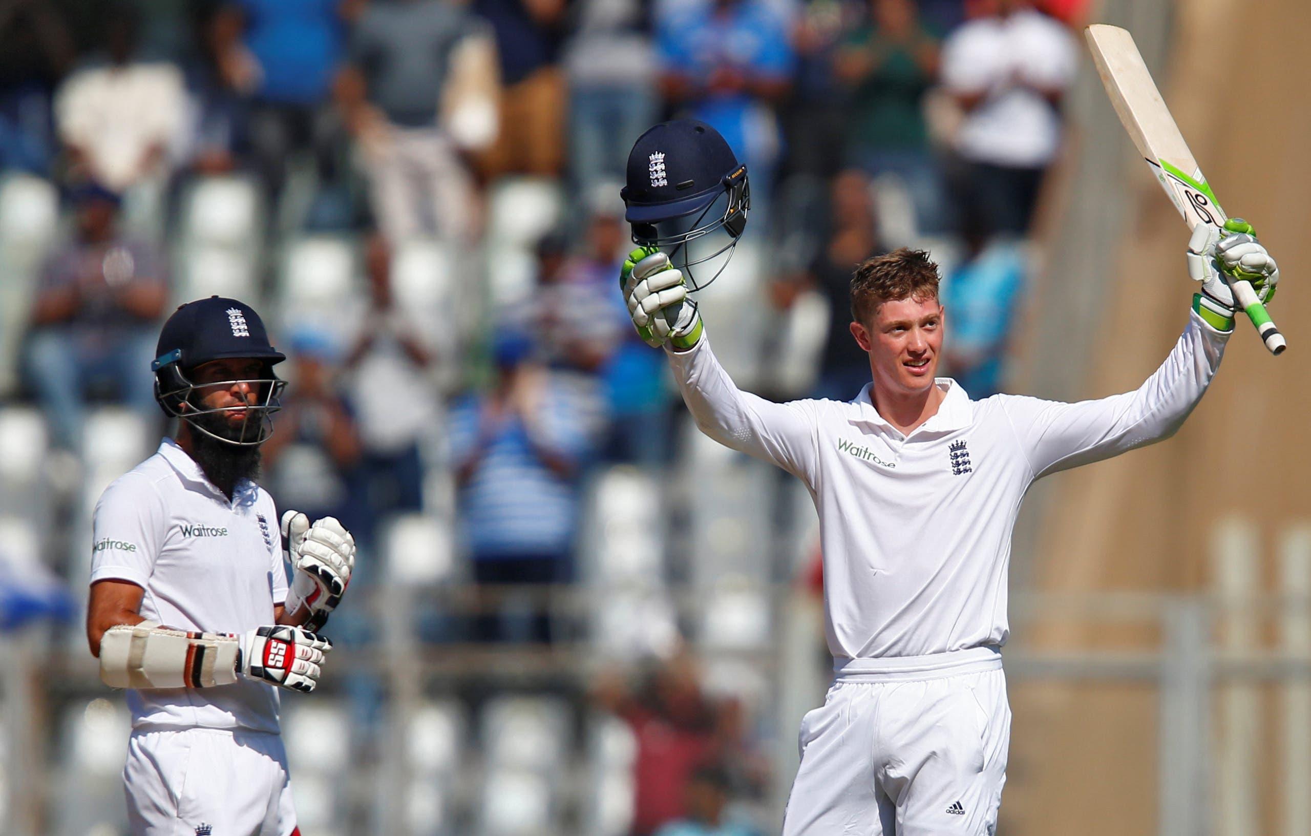 England's Keaton Jennings (right) celebrates his century as his team mate Moeen Ali looks on. (Reuters)