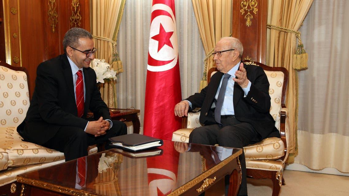 الزميل منذر بالضيافي مع الرئيس التونسي الباجي قائد السبسي