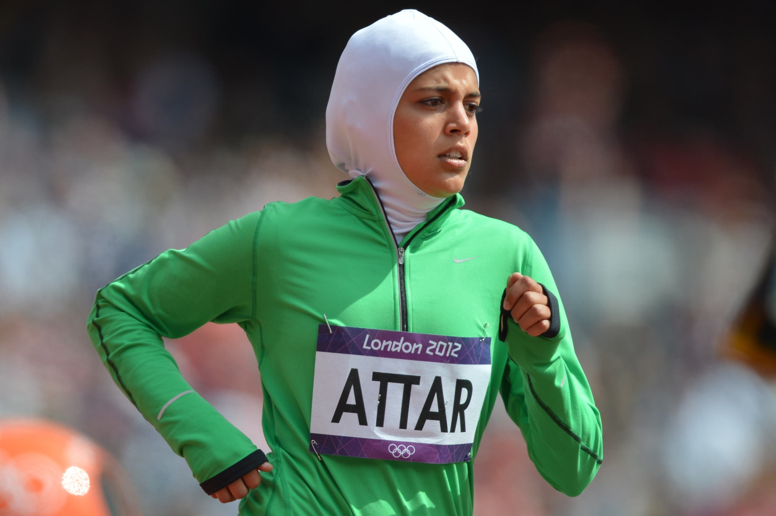 Saudi Arabia's Sarah Attar competes in the women's 800m heats at the athletics event of the London 2012 Olympic Games on August 8, 2012 in London. AFP