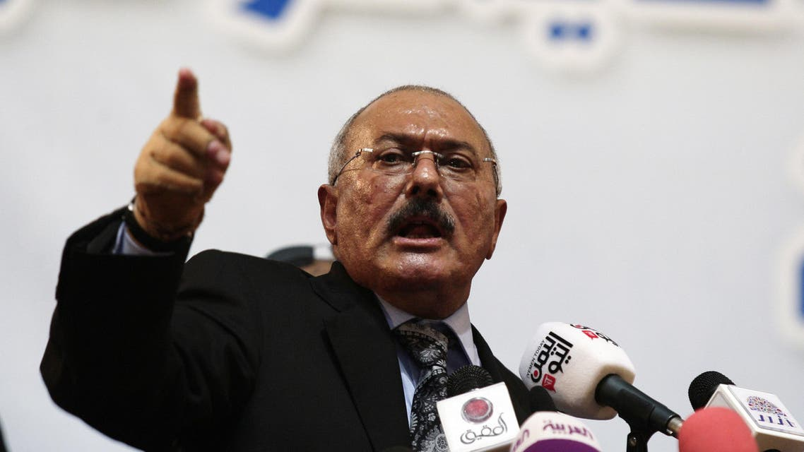 In a Sept. 3, 2012 file photo, former Yemen's President Ali Abdullah Saleh speaks during a ceremony marking the 30th anniversary of his General People's Congress party (GPC) establishment in Sanaa, Yemen. AP
