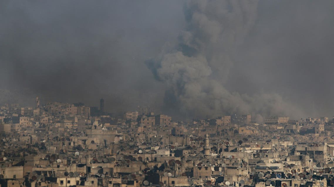 Smoke rises from a rebel-held area of Aleppo Syria December 9, 2016
