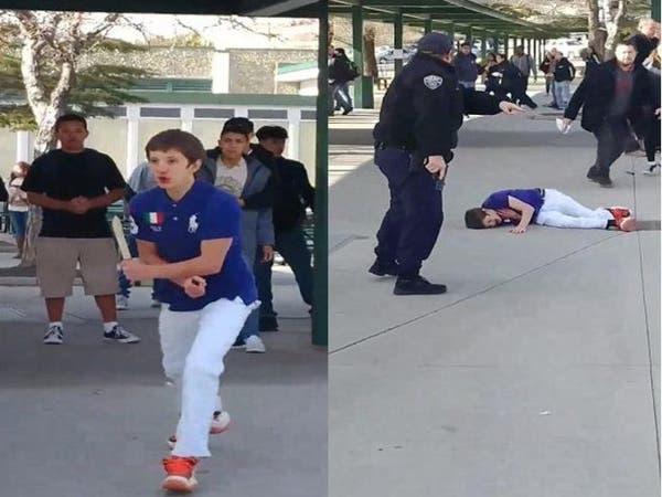 شاهد الشرطة تطلق النار على طالب أميركي هدد زملاءه بسكين