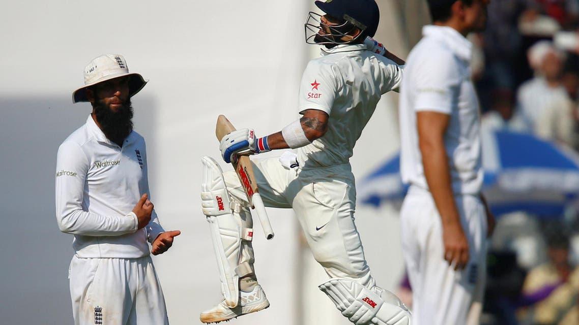 India's Virat Kohli celebrates his century. REUTERS