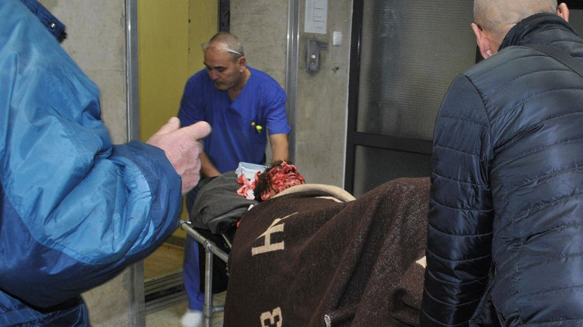 A man who sustained injuries after a cargo train derailed and exploded in northeastern Bulgaria is carried on a stretcher in a hospital in Shumen, Bulgaria, December 10, 2016. (Reuters)