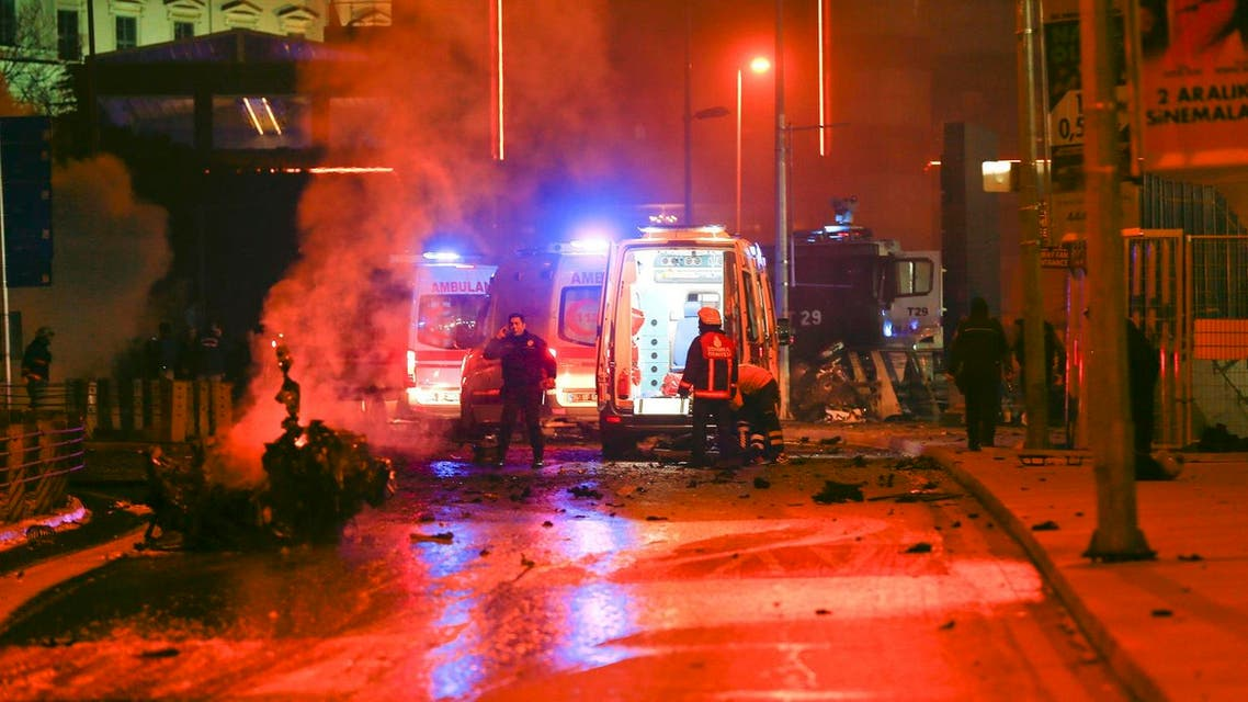 Police arrive at the site of an explosion in central Istanbul. (Reuters)