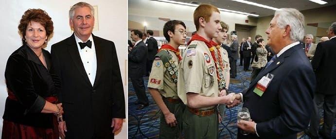ريكس تيلرسون الذي لا توجد الا صورة لزوجته، ناشط كبير في الحركة الكشفية الأميركية