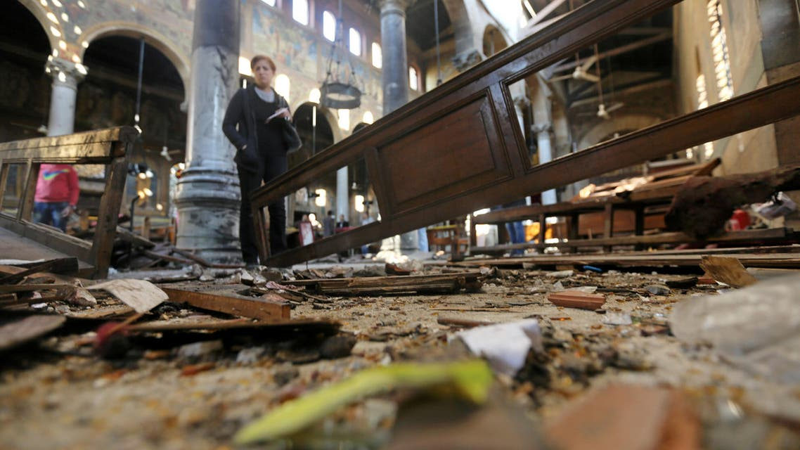 Damage from the explosion inside Cairo's Coptic Orthodox Cathedral is seen inside the cathedral in Cairo, Egypt December 11, 2016. Reuters