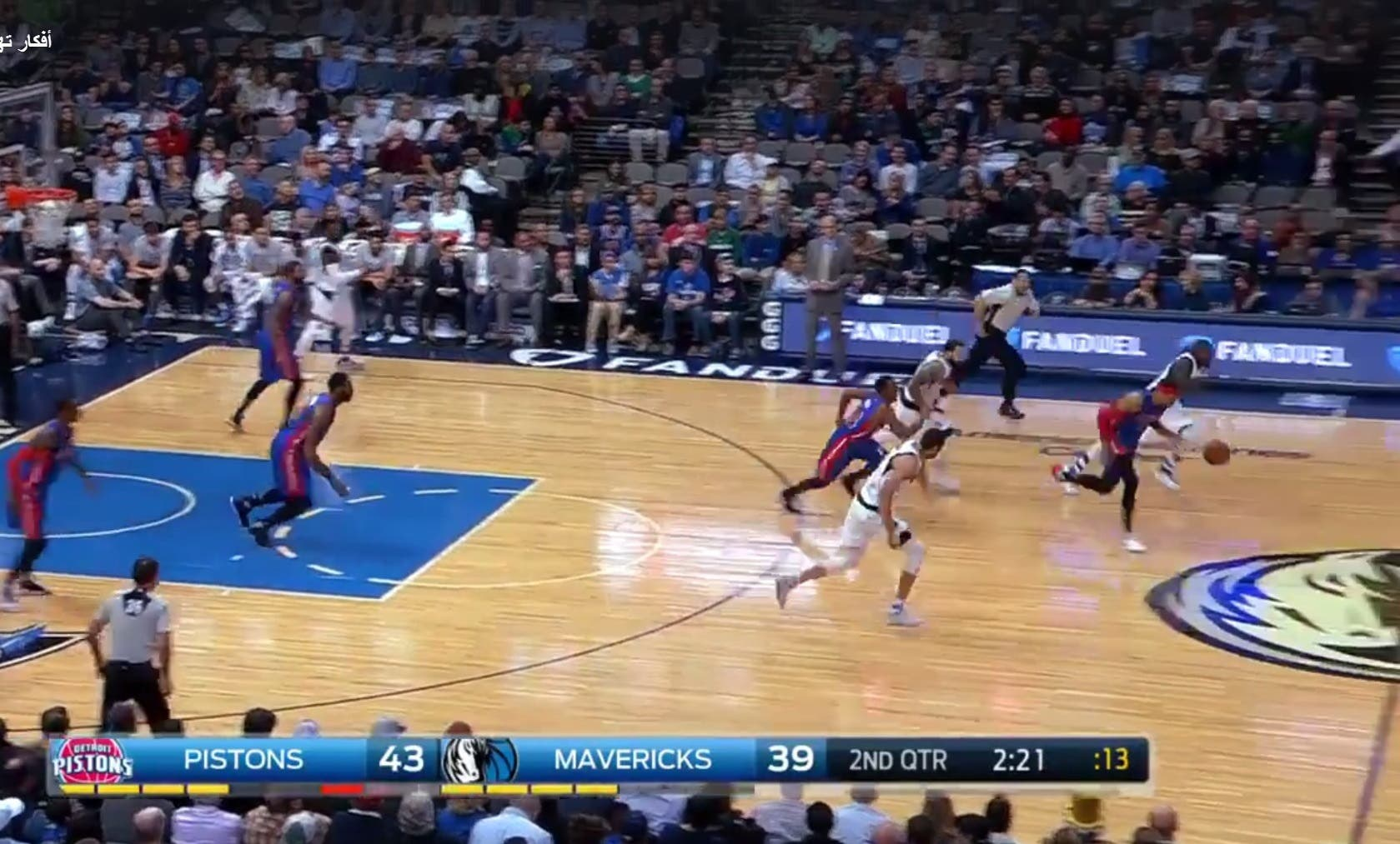 Pistons' Tobias Harris runs for the net in a quick counter attack. (Screengrab)