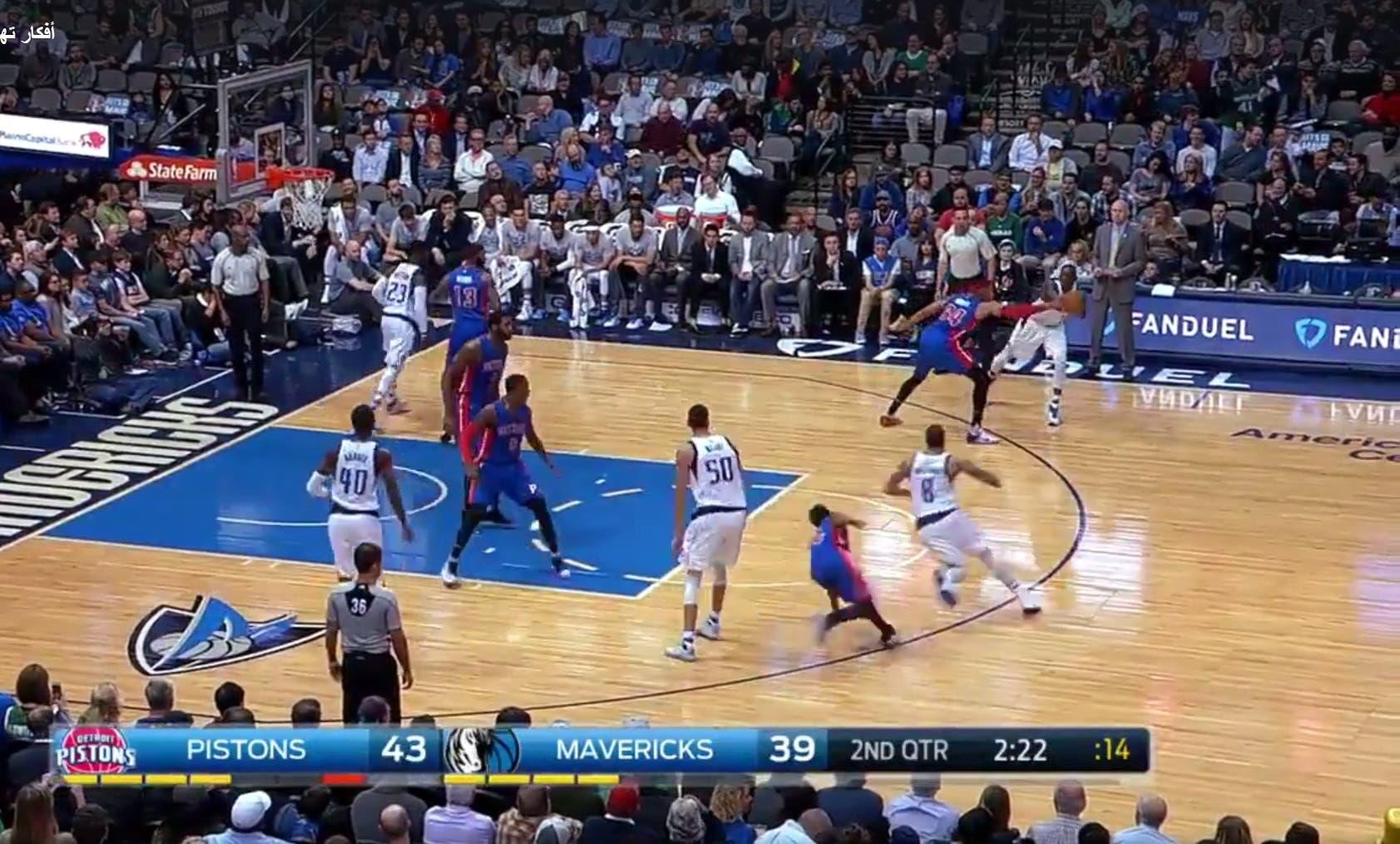 Dallas Mavericks lose the ball to the Detroit Pistons. (Screengrab)