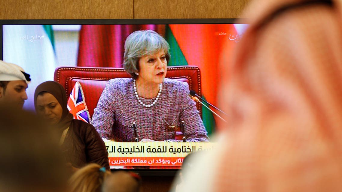 """British Prime Minister Theresa May speaks as journalists take notes during the first Gulf Cooporative Council's (GCC) """" GCC British Summit"""", in Sakhir Palace Bahrain, December 7, 2016. (Reuters)"""