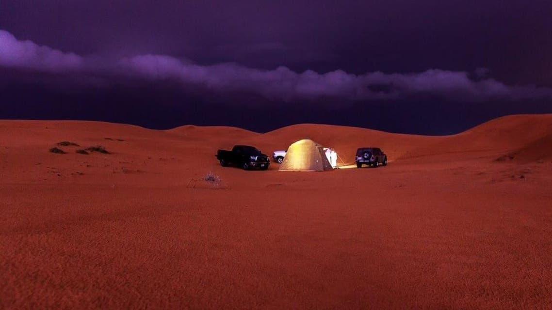 Breathtaking Saudi desert during a night storm