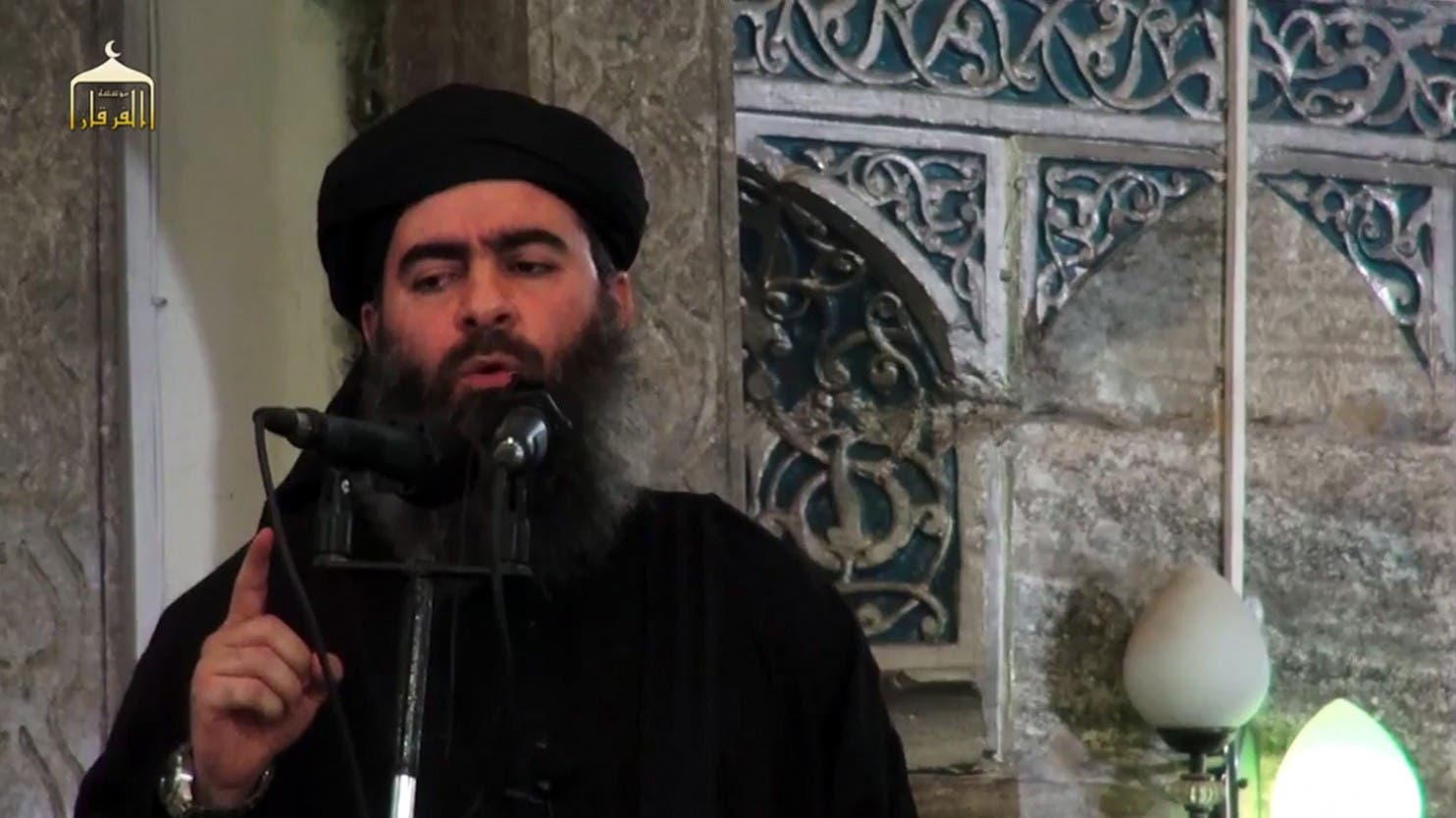 This file photo taken on July 5, 2014 shows the leader of the Islamic State, Abu Bakr al-Baghdadi, speaking in Mosul. (AFP)