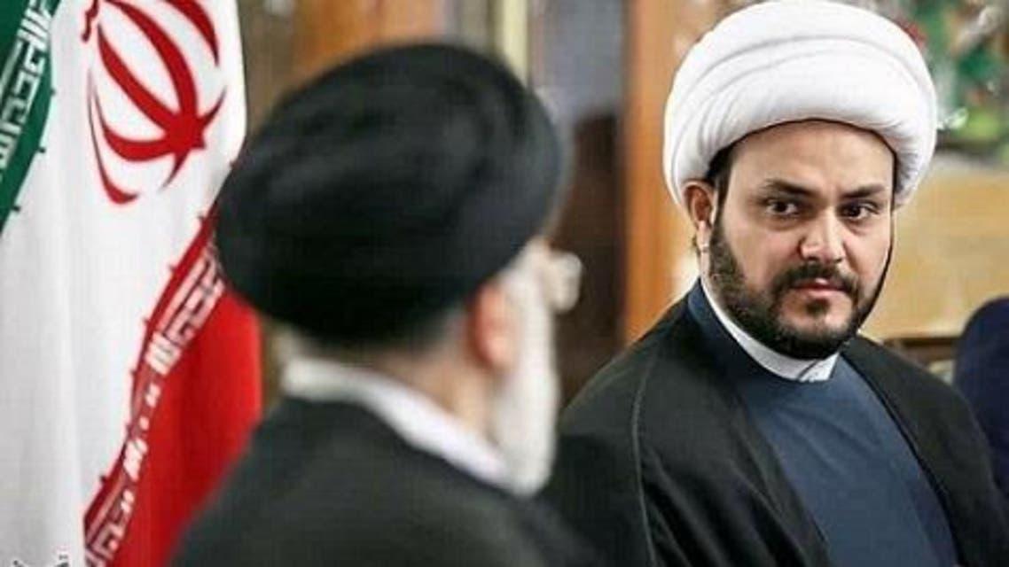 زعيم ميليشيا حركة النجباء العراقية المتشددة ومرشد إيران علي خامنئي