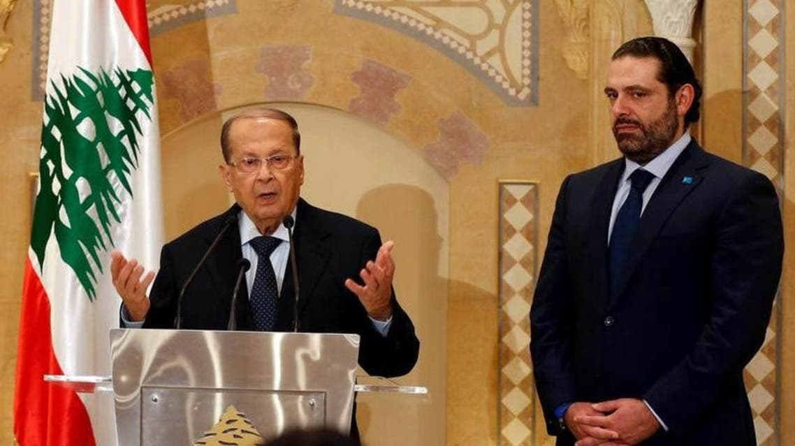 Lebanese President Michel Aoun (left) and Prime Minister Saad Hariri during the October press conference in Beirut on October 20 2016. Photograph: Mohamed Azakir - Reuters.