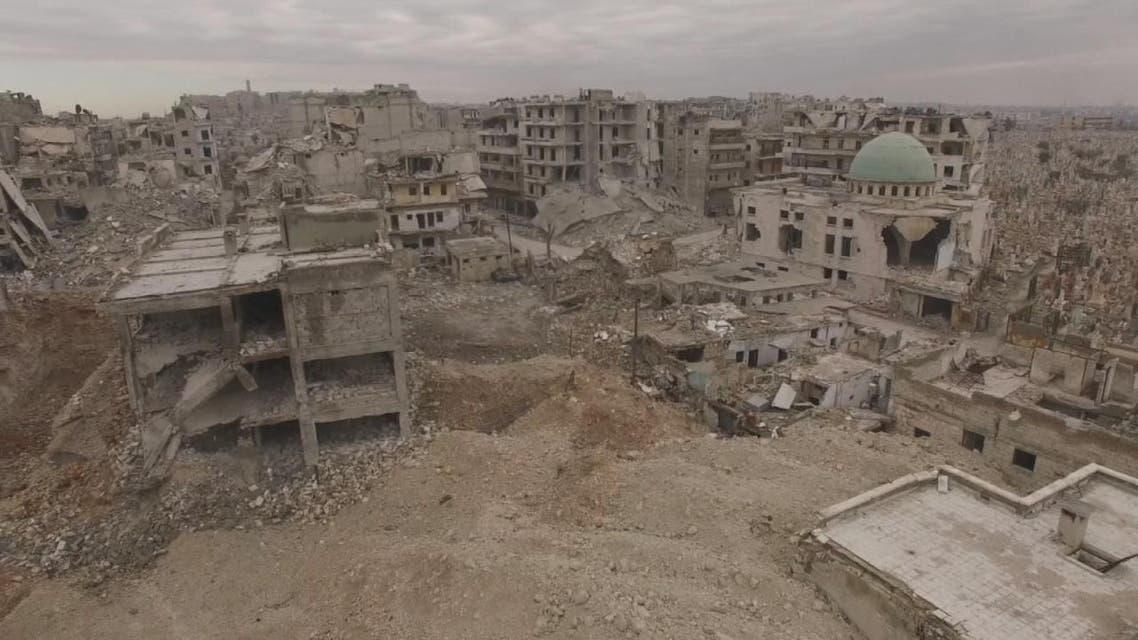 THUMBNAIL_ شاهد من الجو دمار حي بستان القصر #حلب
