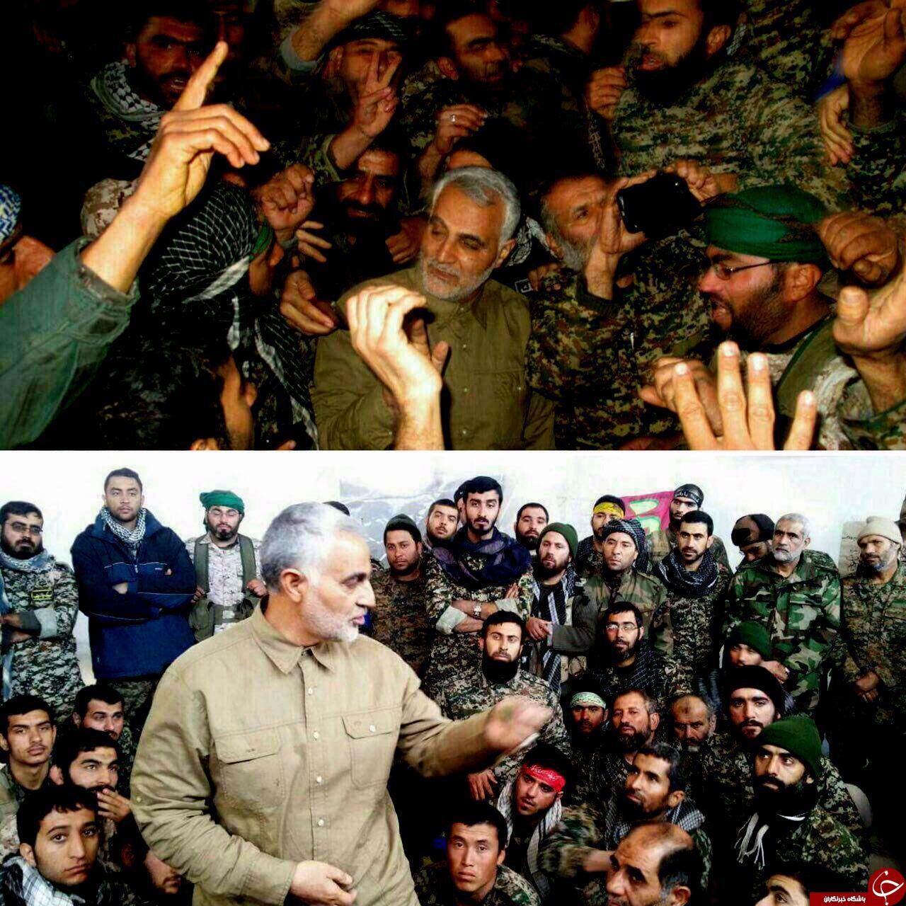 قائد فيلق القدس فيالحرس الثوري قاسم سليماني مع ميليشيات إيرانية في حلب(|أرشيفية)