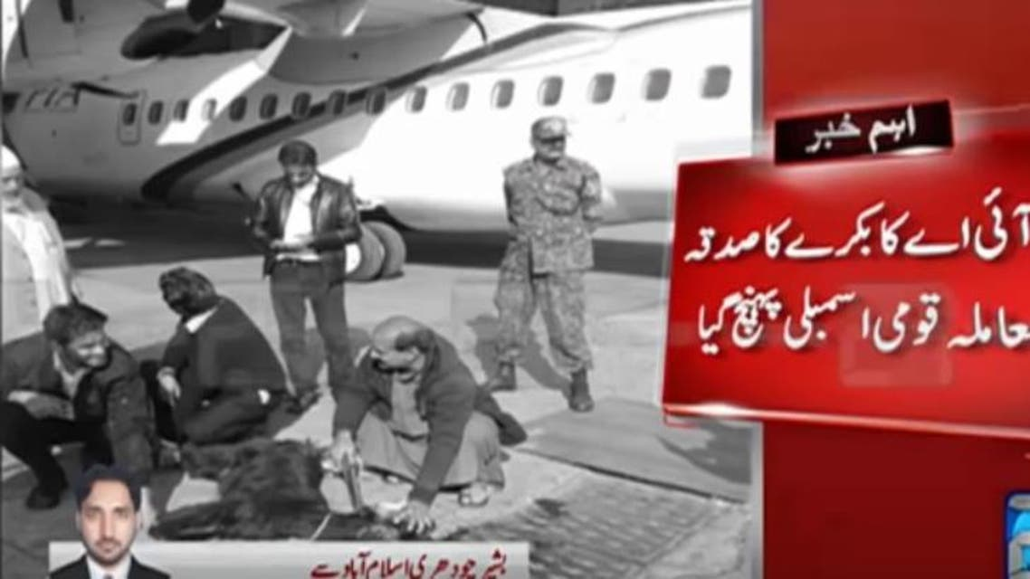 Pakistan's embattled national carrier has been widely mocked for sacrificing a goat next to a plane to ward off bad luck. (Screenshot: 24 News)