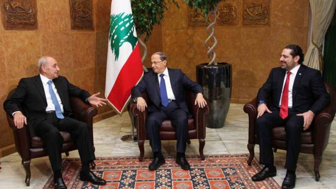 اجتماع الرؤساء الثلاثة في قصر بعبدا بعد تشكيل الحكومة اللبنانية
