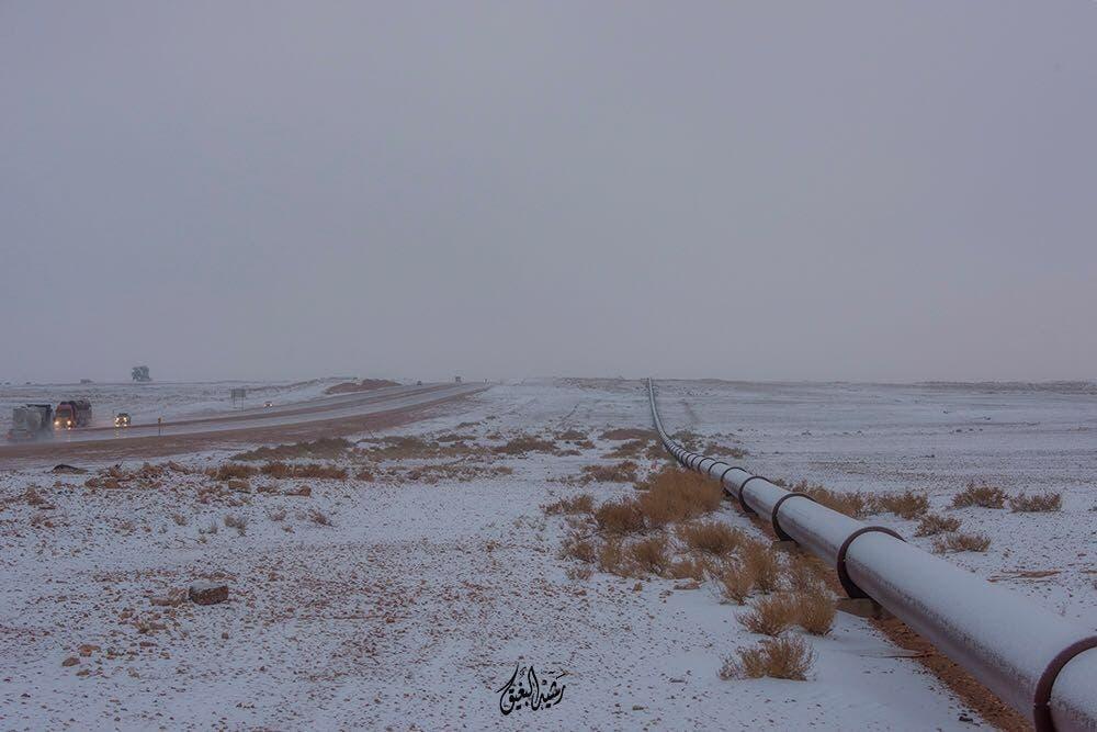 Striking photos of snow covered Saudi desert
