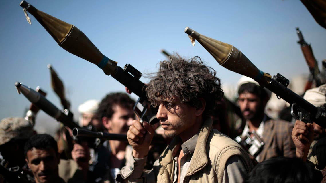 Tribesmen loyal to Houthi rebels hold their weapons as they attend a gathering aimed at mobilizing more fighters into battlefronts in several Yemeni cities, in Sanaa, Yemen, Thursday, Nov. 24, 2016. (AP