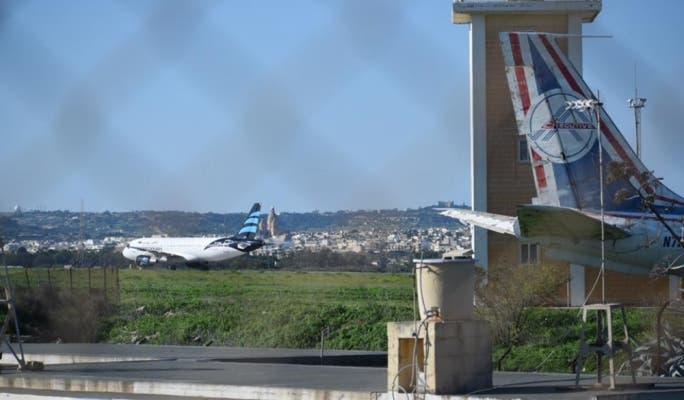 الطائرة المختطفة في مالطا
