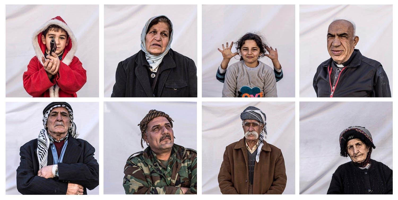 عراق کے خودمختار علاقے کردستان کے دارالحکومت اربیل میں ایک کیمپ میں مقیم عیسائیوں کی مشترکہ تصاویر۔ وہ موصل پر سنہ 2014ء میں داعش کی یلغار کے بعد بے گھر ہوگئے تھے۔