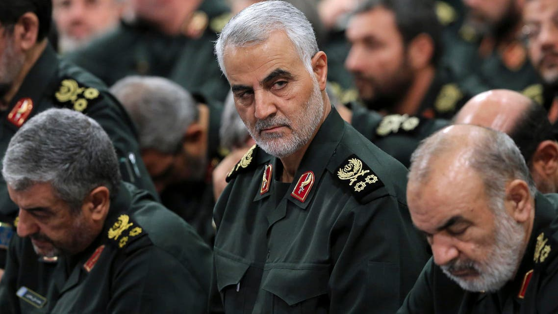 Revolutionary Guard Commander Qassem Soleimani (center) attends a meeting  in Tehran. (AP))