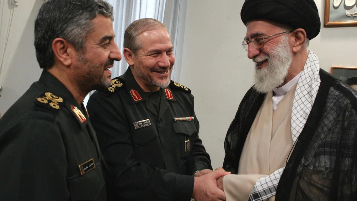 Iranian Supreme Leader Ayatollah Ali Khamenei, right, shakes hands with former head of Revolutionary Guard, Major General Yahya Rahim Safavi, after awarding the rank of Major General to new head of Revolutionary Guard Mohammad Ali Jafari, left, in Tehran, Sept. 3, 2007. (File photo: AP)