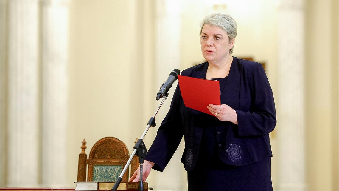 Sevil Shhaideh is sworn in for the position of minister for regional administration and public administration, in Bucharest, Romania, May 20, 2015.
