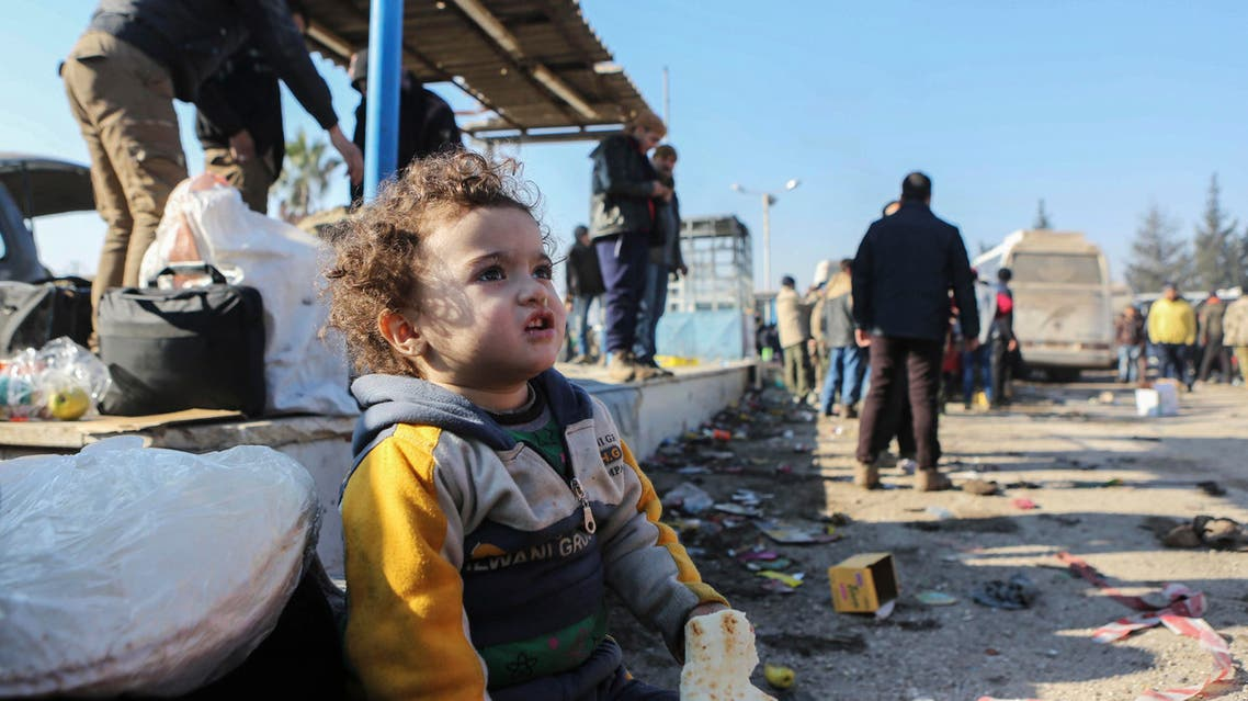 A Syrian child evacuated from the embattled Syrian city of Aleppo during the ceasefire arrives at a refugee camp in Rashidin, near Idlib, Syria, Tuesday, Dec. 20, 2016. Russian Foreign Minister Sergey Lavrov said on Tuesday that Russia, Iran and Turkey are ready to act as guarantors in a peace deal between the Syrian government and the opposition. He spoke on Tuesday after a meeting of the three countries' foreign ministers in Moscow. (AP)