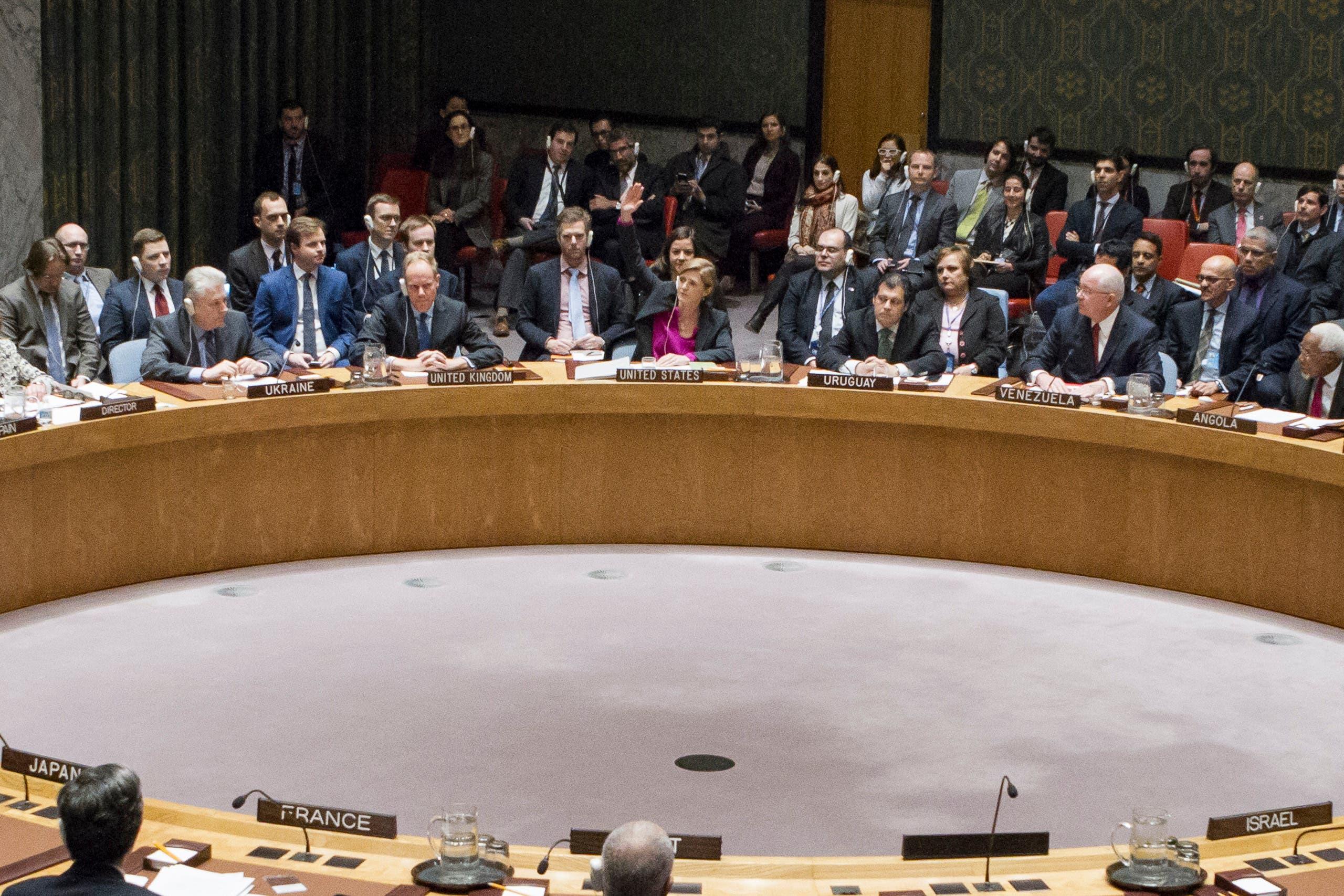من جلسة مجلس الأمن التي تم خلالها تبني قرار إدانة المستوطنات