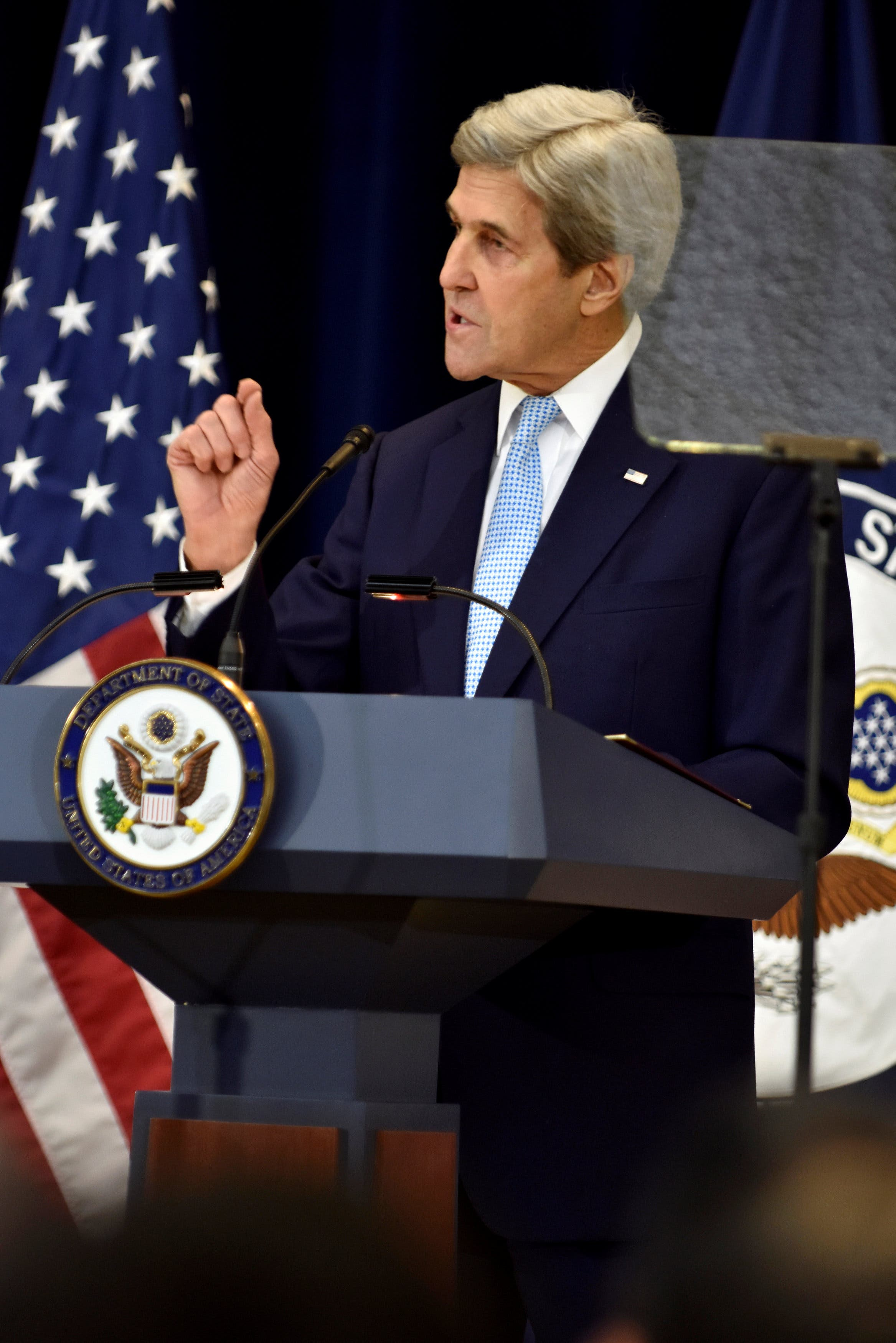 US Secretary of State John Kerry delivers remarks on Middle East peace at the Department of State in Washington, Dec. 28, 2016. (AP)